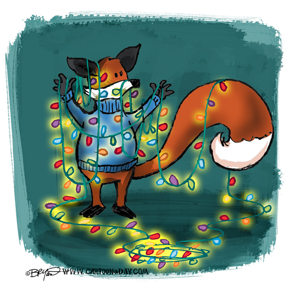 Christmas Lights Cartoon.Fox Tangled In Christmas Lights Cartoon Cartoon A Day