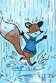 Fox running in the rain