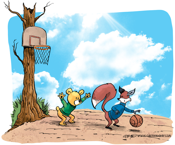 fox-bear-play-basketball-598