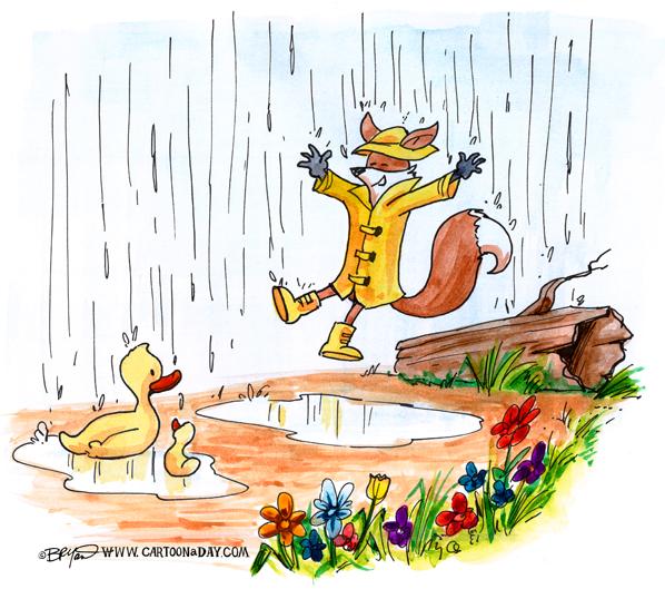 fox-rain-day-ducklings-jump-598