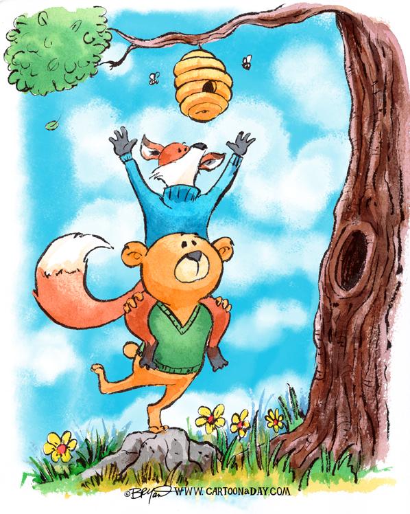 fox-and-bear-honey-cartoon-598