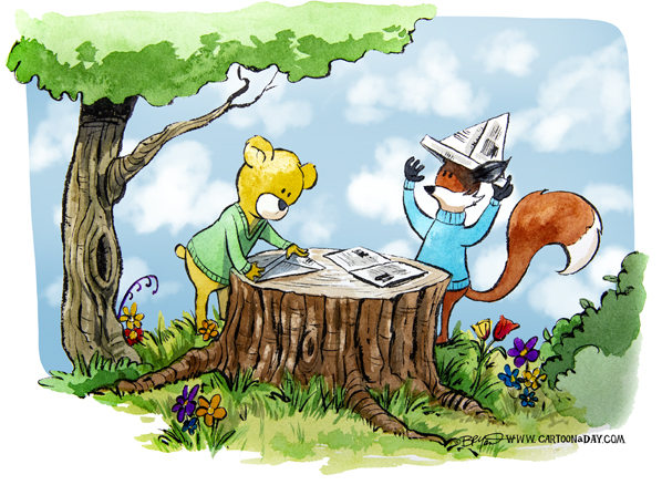 fox-bear-paper-hats-598
