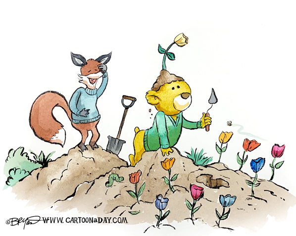 fox-bear-planting-flowers-598