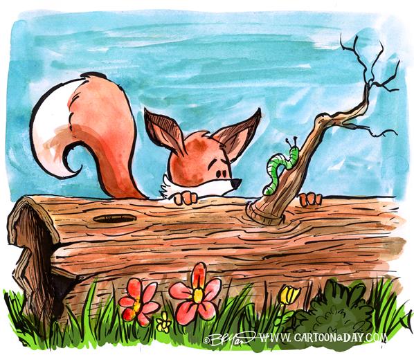 fox-caterpillar-watercolor-cartoon-598