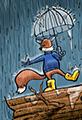 Rainy Day Fox Cartoon