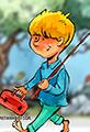 Boy Fishing Watercolor