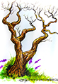 Twiggy Tree Ochre Watercolor