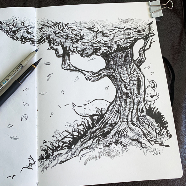 Kit-fox-hiding-windy-tree-ink