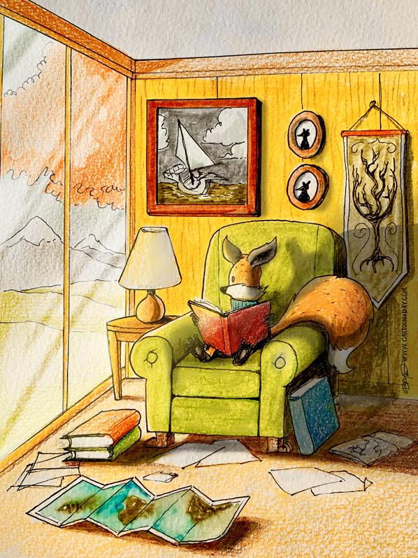 Kit-fox-reading-book-sunlight-598