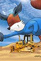 Kit the Fox Plays with a Bulldozer