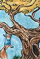 Kit hangs in Tree Watercolor