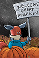 Kit the Fox waits for the Great Pumpkin