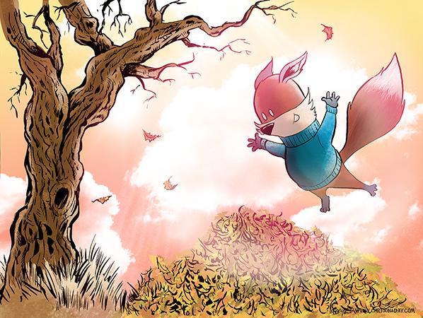 Kit-fox-jumps-in-leaves-598