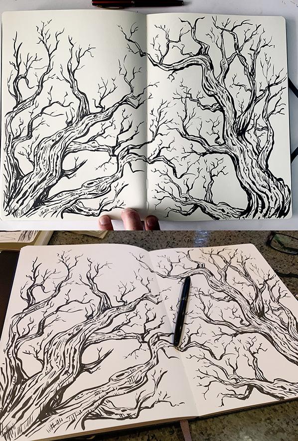 Twiggy-tree-spread-kuretake-moleskine-598