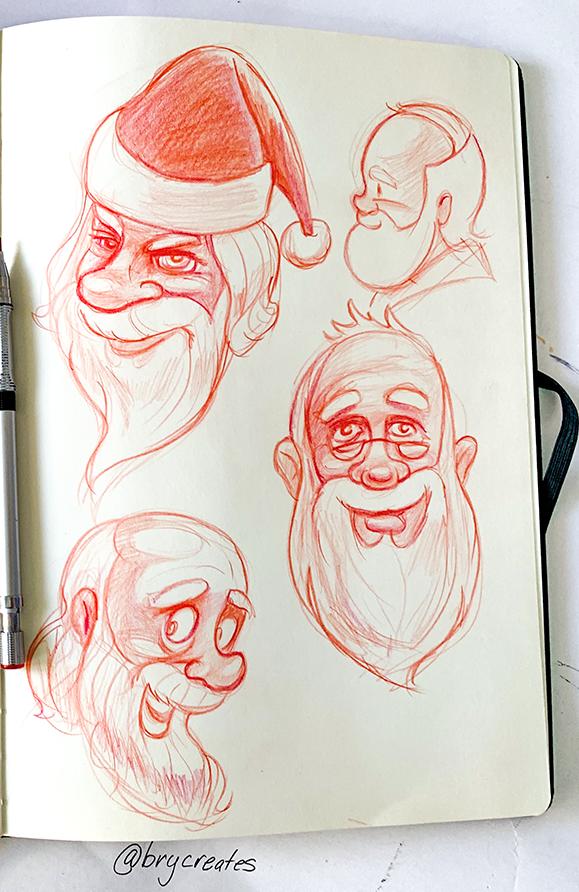 Santa-sketches-1