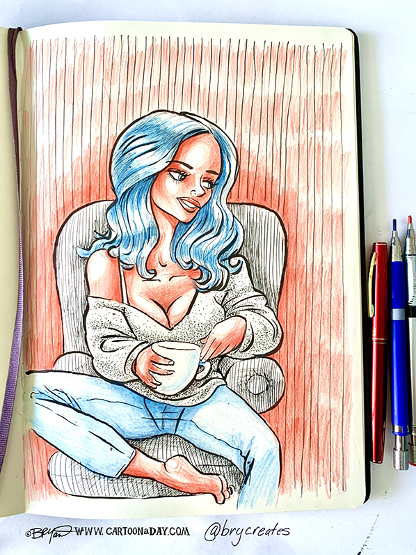 beautiful-woman-coffee-ink-598