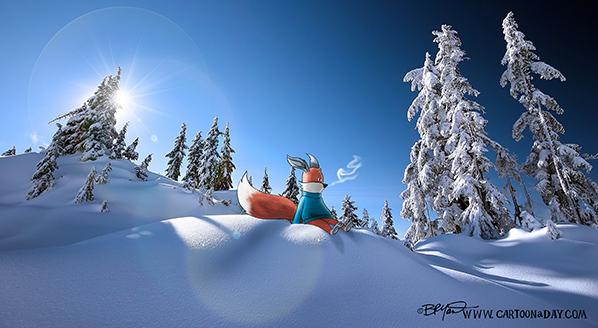 kit-fox-sitting-snow-slope-598