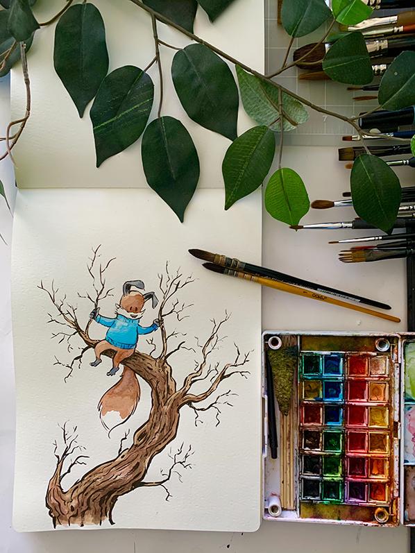 Kit-fox-tree-watercolor-598-b