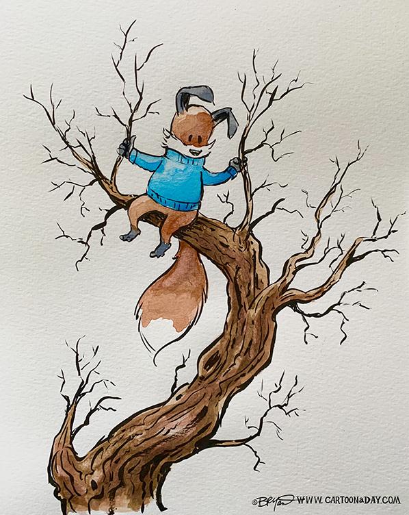 Kit-fox-tree-watercolor-598